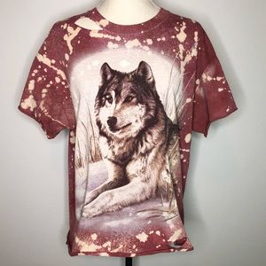 The Mountain 2001 Wolf Reverse Dye Bleached Tee L
